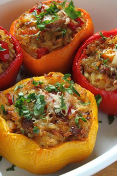 These roasted bell peppers are filled with an Italian-spiced mix of lentils and rice, and topped with zesty marinara sauce. Italian Stuffed Peppers, Quinoa Stuffed Peppers, Stuffed Onions, Stuffed Tomatoes, Lentils And Rice, Beef And Rice, Burger Recipes, Seafood Recipes, Spiced Beef