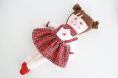 Handmade doll doll for girls clothdoll fabric doll buns brown eyes brunette tartan dress socks boots christmas gift hannukah from Amapoladoll