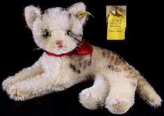 Rare Steiff '50s Reclining Fiffy Cat Kitten 2 IDs (Earliest Number)