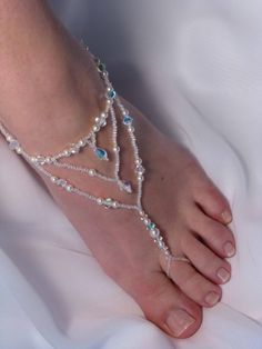 Foot Jewelry Bridal Barefoot Sandals by TwoBeWedJewelry on Etsy