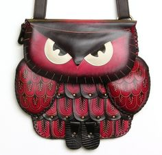 Genuine Leather Owl Purse, Handbag, Hand Tooled, Red, Womens, Accessories, New #Handmade #ShoulderBag