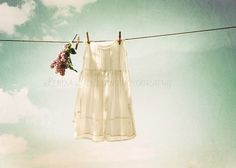 Dress and Teddy drying on the laundry line.