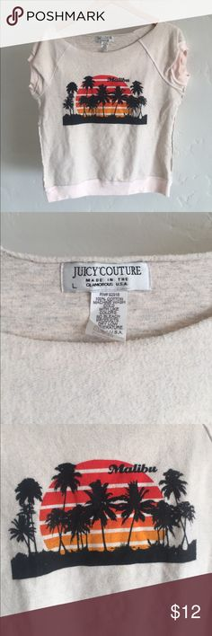 Juicy Couture sweatshirt Malibu tee Juicy Couture light pink sweatshirt off the shoulder t-shirt. Fun Malibu palm tree and sunset image on front. Inside out seam design. Super cozy and sexy in a casual way. Show some shoulder in the summer sun! Excellent used condition except for tiny stain (pictured). Size L. Juicy Couture Tops