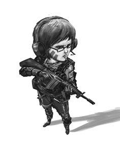 warrior girl sketch 1 by badillafloyd