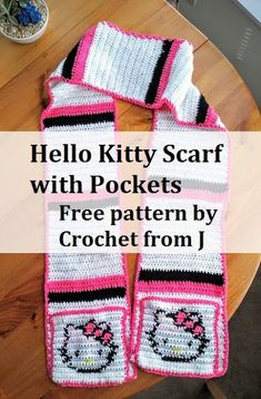 Hello Kitty Scarf with Pockets: free pattern by Crochet from J