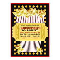 Popcorn and a Movie Birthday Party Invitation Add your own details to these fun popcorn and a movie birthday party invitations! Fun birthday party invites - customize your invitations. New Years Eve Invitations, Kids Birthday Party Invitations, 10th Birthday Parties, Birthday Fun, Birthday Ideas, Invites, Birthday Popcorn, Themed Parties, Birthday Cards