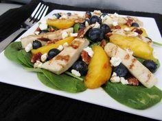 Chicken and Spinach Salad with Peaches and Blueberries