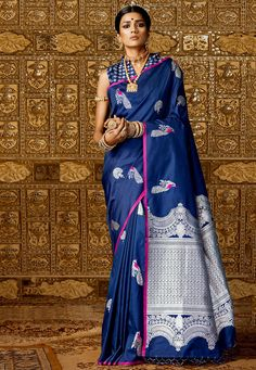 Woven Art Silk Saree in Dark Blue : Dupion Silk Saree, Blue Silk Saree, Silk Saree Kanchipuram, Soft Silk Sarees, Pattu Saree Blouse Designs, Lehenga Designs, Ethnic Outfits, Indian Outfits, Indian Long Frocks