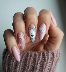 Stylish Gel Nail Art Designs That Are So Perfect for Summer 2019 - Xmas Nails - Cute Christmas Nails, Christmas Nail Art Designs, Xmas Nails, New Year's Nails, Winter Nail Designs, Holiday Nails, Fun Nails, Christmas Manicure, White Christmas