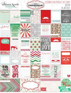 Its Christmas 2014 Project Life December Daily Cards Designed by Allison Kreft Set of 40 digital printable cards 300DPI JPEG files 37 -