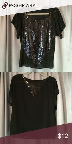 Black sequin top Black sequin chiffon top. 24 inches in length from shoulder to hem Forever 21 Tops Blouses