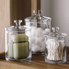 apartment decor Sale ends soon. Shop Set of 3 Glass Canisters. Simple bathroom storage with a retro feel. Handmade glass canisters with nesting lids update a classic apothecary look Bathroom Jars, Diy Bathroom, Creative Storage, Bathroom Makeover, Guest Bathroom, Simple Bathroom, Glass Canister Set, Bathroom Decor, Glass Canisters