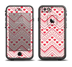 The Hearts and Dots Vector ZigZag Pattern Apple iPhone 6/6s Plus LifeProof Fre Case Skin Set from DesignSkinz