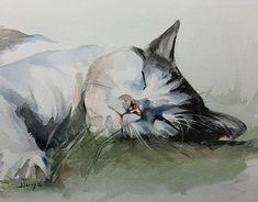Cat Painting, Cat Art, Cats, Watercolor Painting, Sleeping Cat #CatWatercolor