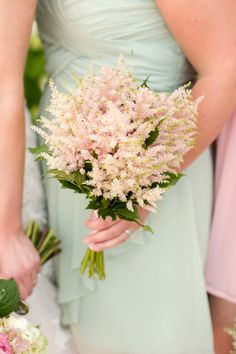 Mint green bridesmaid dress and an astilbe bouquet {Photo by Katelyn James Photography via Project Wedding}