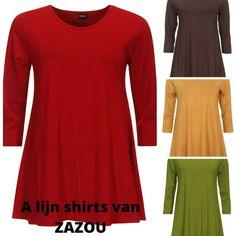 A-lijn shirts van ZAZOU zijn er in 17 kleuren, waaronder ook deze mooie herfstkleuren. Gemaakt van tricot de luxe viscose/elasthan. Verkrijgbaar vanaf maat 42 t/m 54. € 49,= Bestellen kan eenvoudig in de webshop www.zazou.nl. Gratis verzenden en retour.