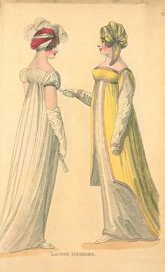 London Dresses, Fashions of London & Paris Regency Dress, Regency Era, 1800s Fashion, Vintage Fashion, Vintage Gowns, Vintage Outfits, Yellow Ballgown, Empire Style, Types Of Dresses