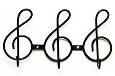 cabideiro de parede c/ 3 ganchos com design de nota musical