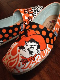 Hand Painted Custom Shoes- BOBS- Patterned- Oklahoma State University  on Etsy, $120.00