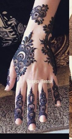 Simple and classy Henna mehndi design - bad ash loving the finger detail Unique Henna, Unique Mehndi Designs, Beautiful Henna Designs, Arabic Mehndi Designs, Mehndi Patterns, Bridal Mehndi Designs, Bridal Henna, Mehendi Simple, Beautiful Mehndi