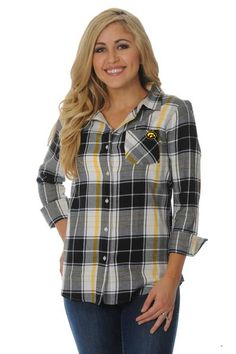 Our adorable Iowa Hawkeyes Boyfriend Plaid Top is perfect for every Iowa Hawkeyesfan and is a UG Apparel best seller! This soft 100% cotton flannel top is wove