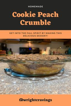 Get into the fall spirit by making this delicious homemade dessert! My husband and I came up with this idea and tried baking this fall dessert this for the first time last weekend. It was AMAZING. From the cookies to the crumble, this recipe is all one hundred percent homemade and so yummy! #food #foodblogger #fall #pinterestrecipe #foodphotography #baking #bake #foodrecipes #love #autumn #leaves #peachcrumble #peaches #dessert #foodlover #cook #cooking #couple #marriage #love Fall Recipes, Yummy Recipes, Great Recipes, Delicious Desserts, Yummy Food, Favorite Recipes, Homemade Cookies, Homemade Desserts, Healthy Travel Food