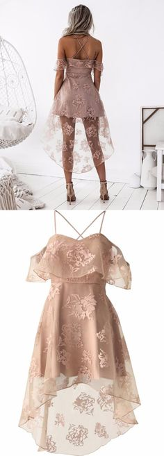 chic blush hi-low homecoming party dresses, special criss cross back lace prom dresses, fashion, dresses.
