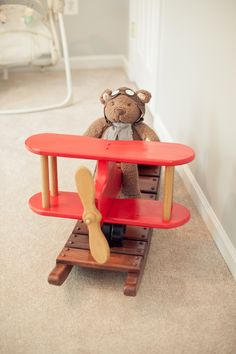 vintage airplane nursery    handmade rocker... Already have the bear, just need the rocker! >>>>Arizona's best AVIATION THEMED RESTAURANT! Tell your friends we'd love to see them visit us at the LEFT SEAT WEST RESTAURANT, Glendale, Arizona!  Check out our Facebook page! http://www.facebook.com/pages/Left-Seat-West-Restaurant/192309664138462