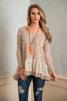 Girly Inspirations Top, Mocha    This precious top is full of girly touches! The ruffled hemline paired with the lace is gorgeous! This top may be a casual one but who says you have to miss out on the fancy feminine extras?!
