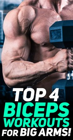 """Check out the top 4 biceps workouts for big arms! 'fitness They may not be the biggest or the strongest muscle group in your body, but your biceps are arguably the best """"show"""" muscles. Best Bicep Workout, Arm Workout Men, Dumbbell Workout, Workout Diet, Workout Motivation, Kettlebell, Bodybuilding Training, Bodybuilding Workouts, Fitness Tips For Men"""