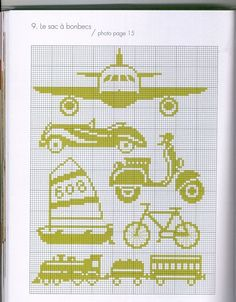 one-color transportation vehicles cross stitch