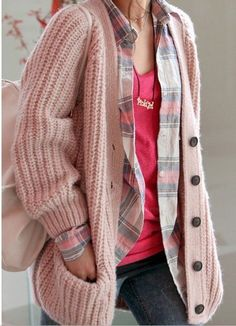 Street Style V-Neck Long Sleeves Heavy Knit Pink Cardigan For Women (PINK,ONE SIZE) China Wholesale - Sammydress.com
