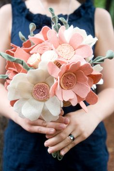 Custom Wedding Wildflower Felt Bouquet - Alternative Bouquet - Wedding Flowers - Felt Bouquet -. $256.00, via Etsy.