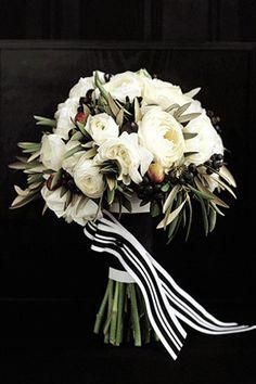 black-white-and-olive-ranunculus-bouquet   Martha Stewart