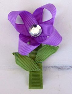 Flower w/Stem Hair Clip