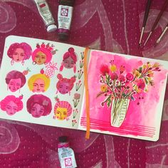 Pink entry in my sketchbook. Day 4 of pinning for Friends of Flow. Find more of my work on Instagram at carolynj. Designed by Carolyn Gavin