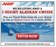 AARP Sweepstakes:  Chance to win a $50 Visa Card or a Cruise!!
