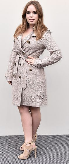 Tanya Burr arrives at the Burberry womenswear show wearing a lace trench coat