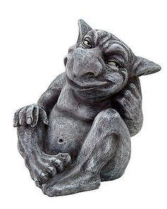Faux Stone Goblin Gargoyle Desktop Statue Sculpture Grotesque Handpainted Decor