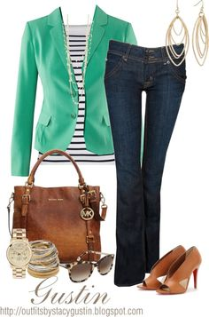 green blazer, created by stacy-gustin.goodwill has awesome blazers. Mode Outfits, Jean Outfits, Casual Outfits, Fashion Outfits, Womens Fashion, Fashion Ideas, Fashion Tips, Green Blazer, Colored Blazer