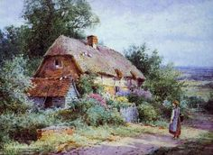 Henry John Sylvester Stannard 1870-1951 Fairytale Cottage, Cottage Art, English Country Cottages, Fairy Tales, Art Gallery, England, House Styles, Oil Paintings, Gardens