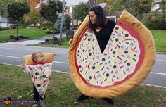 Carolyn: My 20 month old is sporting the slice. I constructed this like a poncho with red felt (sauce) and burlap (cheese) and fuzzy tan fabric for the crust. I attached...