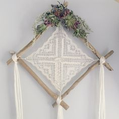 The Cheyenne Lace Dreamcatcher // Wall Hanging // Floral Driftwood // Boho Dream…