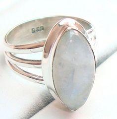 Regenbogen Mondstein Edelstein Ring, Silber Ring von Edelstein-Schmuck auf DaWanda.com