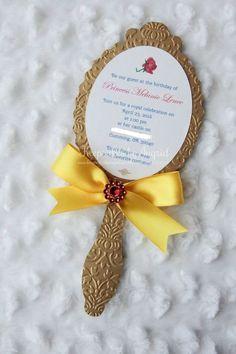 faire part invitation miroir la belle et la bete - diy invitation d'anniversaire