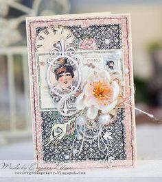 Evgena Petzer made this beatiful A Ladies' Diary card #graphic45 #cards