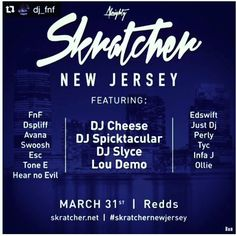 """Our first NJ Event!!!Skratcher New Jersey  Proudly presents its first Skratcher """"The Dope List"""" sessions and a portable skratch battle open to all skill levels so come and show us your portable set up and skills! For those that don't own a portable we will provide the equipment for you please register with me @dj_fnf@yahoo.com no later than March 27th.  Major shouts to @new_jersey_table_pros_njtp & @lou_demo @rtst great job fellas! Salute!  #SkratcherNewJersey will be held at Redds on March…"""
