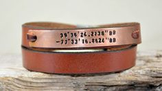 Mens Bracelet Reddish Brown Leather Bracelet by PukkaMen on Etsy