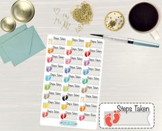 Pinning so I don't forget!! Remember to go back and check out Crafted By Corley on Etsy. Steps Taken Colorful Stickers - Erin Condren Life Planner Stickers Happy Planner Stickers Step Tracker Stickers Step Counting Stickers by CraftedByCorley
