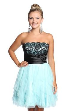 strapless lace homecoming dress with ruffles and satin trim